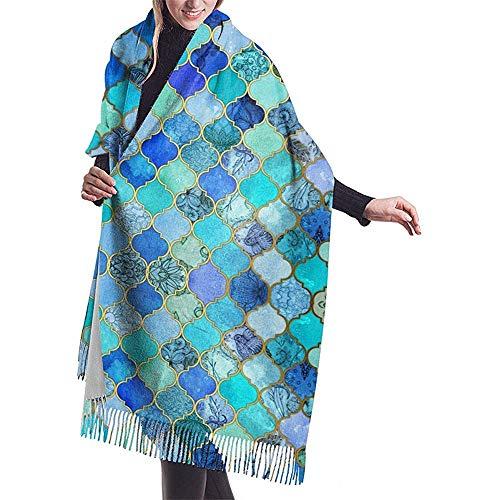 Sjaal kobalt blauwe Marokkaanse tegel patroon Womens grote zachte gevoel Pashmina sjaals wraps lichte stal