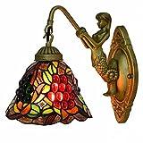 Aplique de pared Estilo de Tiffany lámpara de pared Iluminación Vidrieras de uva patrón Shade 7.8 pulgadas, luz de la pared interior de la antigüedad por Espejo Faros lámpara de pared