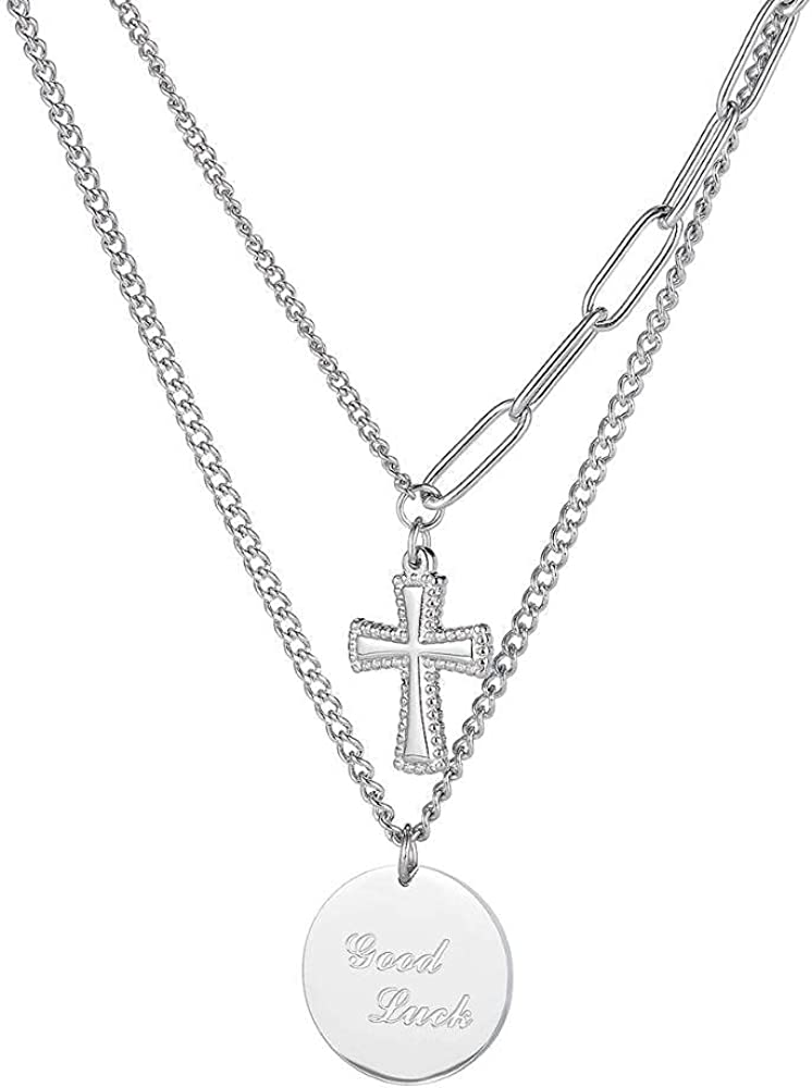 Women Necklaces Double Layer Cross Round Pendant Stainless Steel
