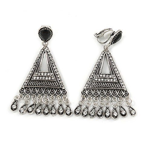 Vintage Inspired Chandelier Crystal Filigree Clip On Earrings In Aged Silver Tone - 60mm L