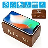 Alarm Clock, Wooden Digital LED Desk Alarm Clock Thermometer Qi Wireless Charger