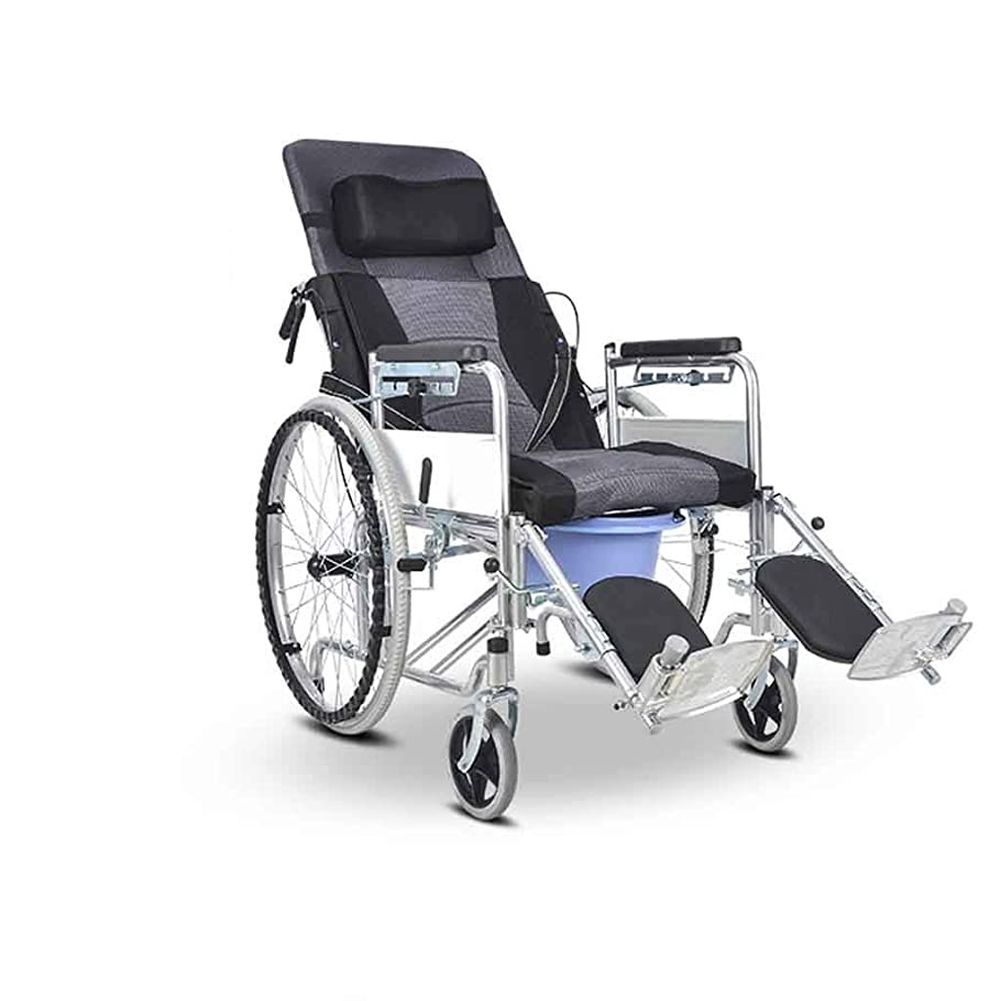 気分が悪いシャッフル練る多機能介護用車椅子、高齢者向けの車椅子折りたたみ式ポータブル車椅子ロッキングハンドブレーキライト付き移動式チェア
