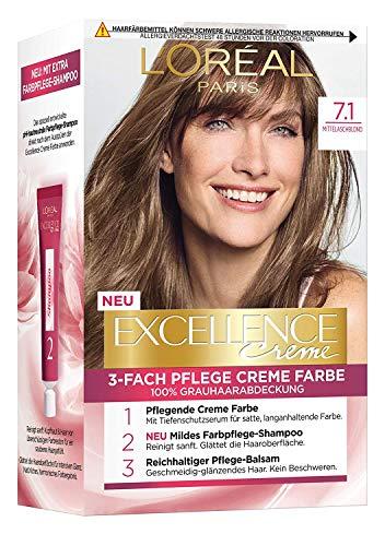 L'Oréal Paris Excellence Crème 7.1 Mittelaschblond 3er Pack(3 x 268 g)