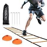 yissvic Pro Agility Ladder機敏性トレーニングラダースピードフラット横線with Carryingバッグ10ラウンドコーン