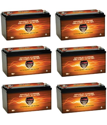 QTY 6 Vmaxtanks VMAXSLR175 AGM deep cycle 12V 1050AH battery for Use with PV Solar Panel wind turbine gas or electric power backup generator or smart charger for off grid sump pump lift winch pallet jack and any other heavy duty application