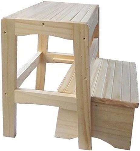 RFJJAL Ladder Stool Multifonction Pliable en Bois Massif Antidérapant De Haute Qualité Facile à Démonter, échelle en 2 étapes (Couleur   Varnish)
