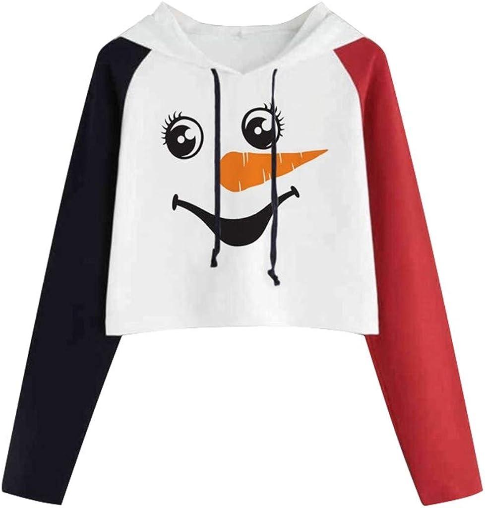 Girl's Hoodie, Misaky Christmas Snowman Print Colorblock Long Sleeve Casual Pullover Sweatshirt Cropped Tops