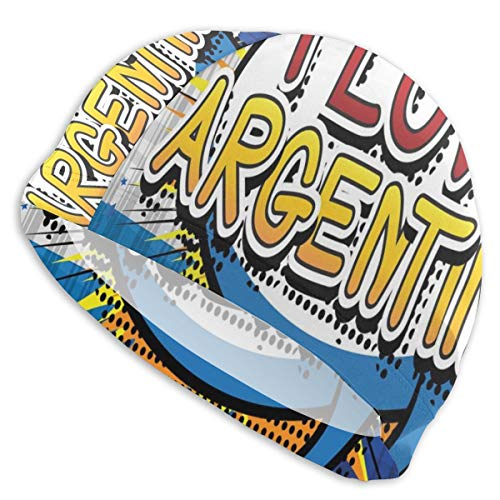 GUUi Swimming Cap Elastic Swimming Hat Diving Caps,Comic Book Style Pop Art Dotted Design I Love Argentina Phrase On Beamed Figure,For Men Women Youths