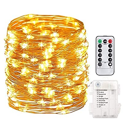 66 Feet 200 Led Fairy String Lights Battery Operated with Remote Control Timer Waterproof Copper Wire Twinkle String Lights for Bedroom Christmas Parties Wedding Decor Warm White