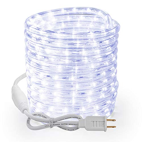 Brizled Rope Lights, 51ft 612 LED Rope Lights, 120V Plugin Christmas Rope Lights Connectable, Waterproof Cool White Indoor Outdoor Tube Lights Flexible for Holiday Garden Yard Corridor Patio Decor