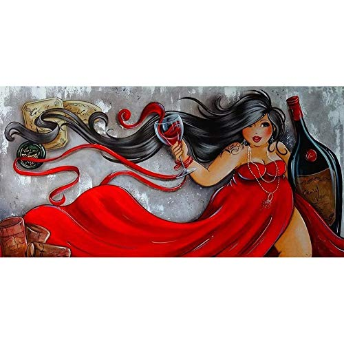 Pintura Diamante 5D Completo Adultos Señoras gordas beben cerveza DIY Diamond Painting taladro completo diamante bordado Punto de Cruz Diamante Craft Kit Home Wall Decor 80x160cm