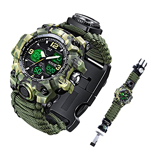 Mens Tactical Military Digital Watch, 23-in-1 Survival Multi-Functional Army Outdoors Waterproof Camouflage Sports Watches Dual Display Analog LED Electronic Wristwatches with Compass Paracord Band
