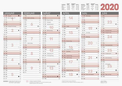 BRUNNEN 1070130 Tisch-/Tafelkalender A 3 Modell 701 30 (1 Seite = 6 Monate, kräftiger Karton, Kalendarium 2020)