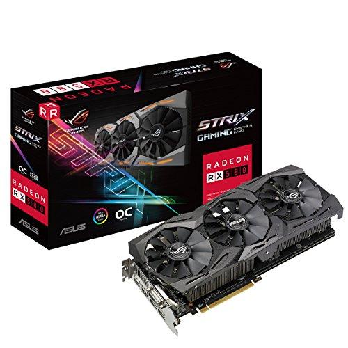 Asus ROG Strix-RX580-O8G-Gaming AMD Radeon grafische kaart, 8 GB GDDR5, PCIe 3.0, HDMI, DisplayPort)