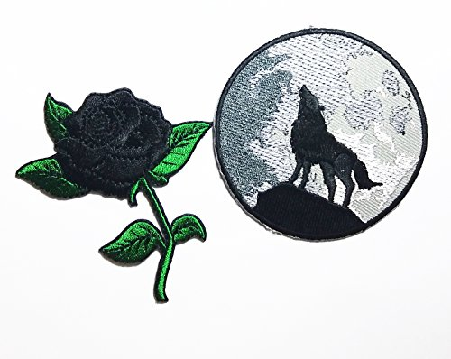 PP patch Set 2 Black Rose Flower patch , WOLF HOWLING patch DIY Applique Embroidery Iron on Patch