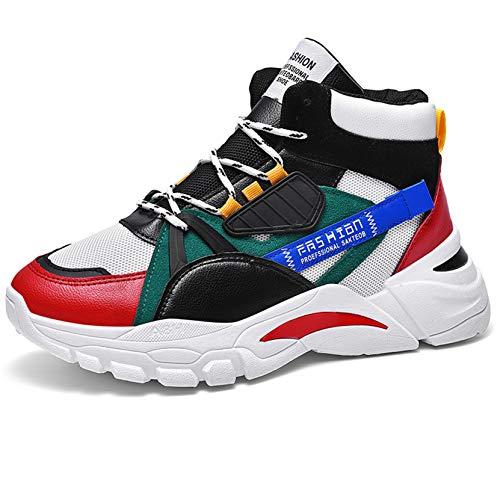 Zapatillas de Baloncesto para Hombre, Forro cálido de Cuero Colorido con Cordones, Suela de Plataforma Antideslizante, Zapatos Deportivos para Caminar al Aire Libre para Correr