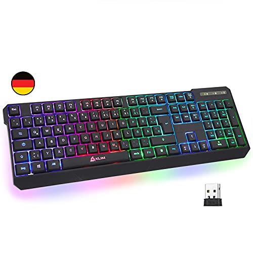 KLIM Chroma Wireless Gaming Tastatur Kabellos QWERTZ DEUTSCH + Langlebig, Ergonomisch, Wasserdicht, Leise + RGB Kabellose Tastatur Gaming für PC PS4 Mac + Neue 2021 Version + Schwarz
