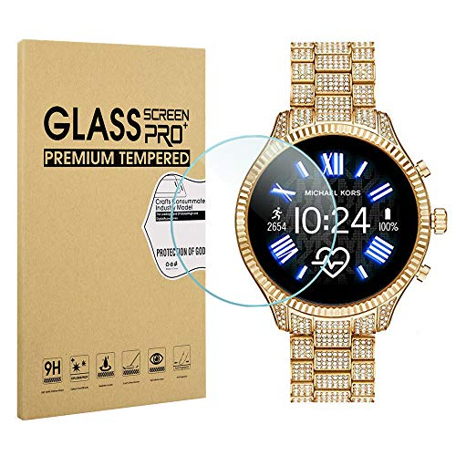 Suoman 3-Pack for Michael Kors Access Gen 5 Lexington Screen Protector Tempered Glass, 2.5D 9H Hardness Screen Protector for Michael Kors Gen 5 Lexington 2 Smartwatch