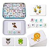 磁気文字と数字アルファベットABC冷蔵庫用マグネットフラッシュカードスペルカウントゲーム就学前教育用おもちゃ34 56歳の子供幼児男の子女の子