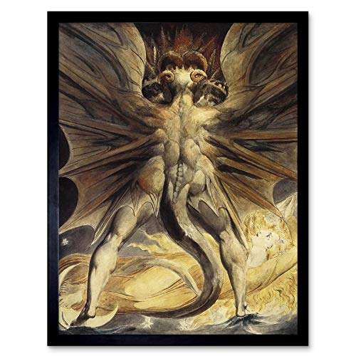Wee Blue Coo William Blake Red Dragon Woman Clothed Sun 1805 Old Painting Art Print Framed Poster Wall Decor Kunstdruck Poster Wand-Dekor-12X16 Zoll