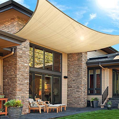 KMM Toldo rectangular de 10 x 13 pies, con protección UV, 185 g/m², para patio, jardín, piscina, actividades al aire libre, color beige arena