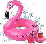 TK Gruppe Timo Klingler Flamingo XXL 120 cm Swim Ring Flamingo Flamingo Diseño Inflable para la Piscina, Lago y Playa, mar, Agua con 1x Portabebidas Donut para Botellas y Bebidas, Cocktail Pink