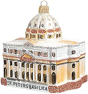 Saint Peter's Basilica Cathedral Vatican Rome Italy Polish Glass Christmas Ornament Travel Souvenir