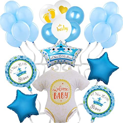 Baby Shower Decoración Globos de Helio - Photocall Babyshower Bautizo - Fiesta de Bienvenida de Bebé Niño - Set de 24 Globos Baby Shower Azul - Fiesta recién nacido - Regalo bebé - Nacimiento