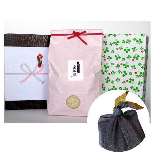 新潟県産コシヒカリ (有機肥料・米袋:ピンク・包装紙:緑・風呂敷:青)3キロ