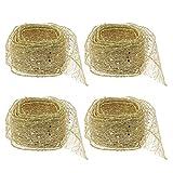Toyvian 4 cintas de malla con purpurina para envolver regalos, adornos de árbol de Navidad (dorados) de 2 m