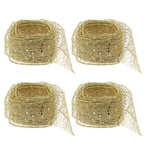 Toyvian, 4 nastri in rete glitterati per artigianato, confezioni regalo, decorazioni per albero di Natale (rosso) 2 m, dorato, m