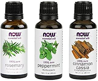 3-Pack Variety of NOW Essential Oils: Energizing - Rosemary, Cinnamon Cassia, Peppermint