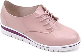 Sapato Oxford Beira Rio Conforto Verniz Premium 4174.719 na cor Rosa