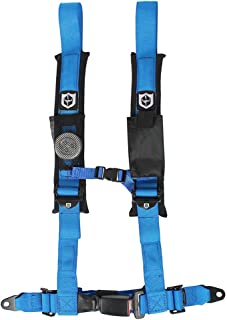 Pro Armor A16UH349BU Auto Style 4 Point Harness 2 Inch Lap Seat Belt Straps Blue Passenger Side