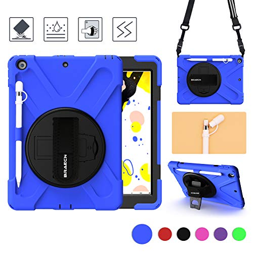 BRAECN iPad 10.2 Case with Pencil Holder/Pencil Cap Holder,Heavy Duty Rugged Case with Stand,Handle Hand Strap & New Shoulder Strap(Expandable Storage Pouch) Fit ipad 7th Generation Cases 2019-Blue