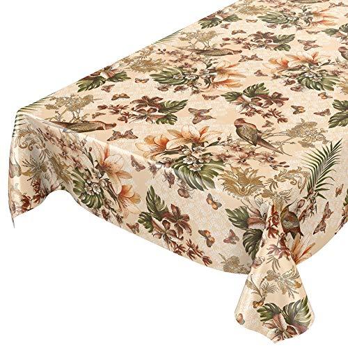 ANRO tafelzeil tafelkleed wasdoek wastafelkleed tafelkleed exotisch bloemen vogels Eden tuin