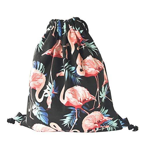 ED-Lumos Schwarz Flamingo Turnbeutel Aufbewahrungsrucksack für Frauen Kinder Gym Schule PE Tanzen Rucksack