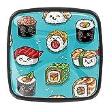 4 pomos redondos para armario de cocina, tiradores de cajón, diseño de sushi...