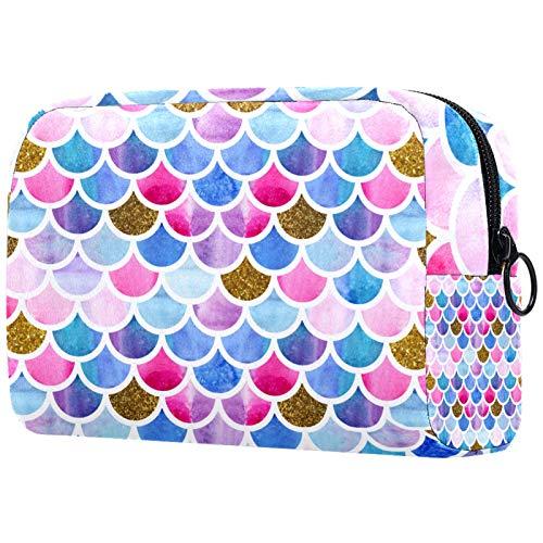 Personalised Makeup Brushes Bag Portable Toiletry Bags for Women Handbag Cosmetic Travel Organiser Mermaid Scale Sea-Maid