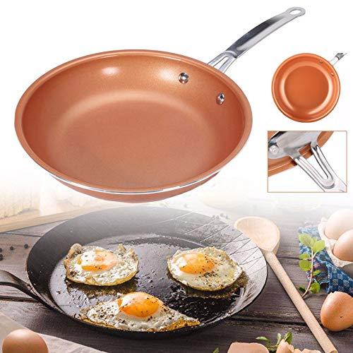 PPuujia Sartén antiadherente de cobre con revestimiento cerámico, fácil de limpiar, duradero, antiadherente, utensilios de cocina, utensilios de cocina wok (tamaño de la hoja: 26 cm)