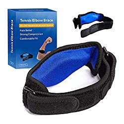 small Tennis elbow support for (2) elbow tendinitis with compression pads, fishing, prevents elbow pain …