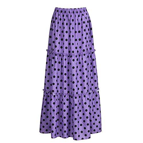 Frauenröcke,Frauen Plus Größe Hohe Taille Polka Dot Gedruckt Gekräuselten Falten Maxi Röcke, Lange Röcke Mit Gummizug, Sommer Strand Casual Röcke Lila, M