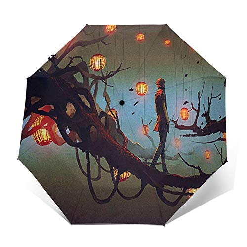 Regenschirm Taschenschirm Kompakter Falt-Regenschirm, Winddichter, Auf-Zu-Automatik, Verstärktes Dach, Ergonomischer Griff, Schirm-Tasche, Laterne AST
