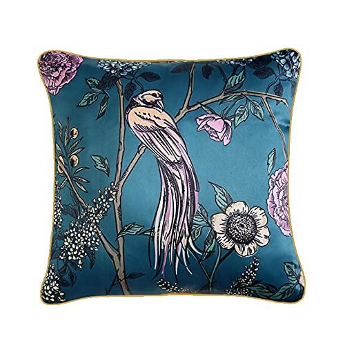 GLHT Funda de Almohada de Lujo de 45X45 CM, Flores y cojín de ruiseñor para el sofá de la Sala de Estar