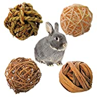 BINGHONG3 4Pcs Small Animal Natural Activity Chew Toys Rabbits Bird Parrot Play Rattan Balls