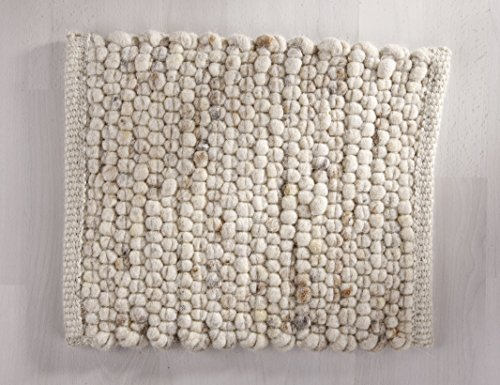 Tisca GRÖNLAND Sky handgewebter handweb Teppich für das Wohnzimmer, Esszimmer, Schlafzimmer und die Küche geeignet (Muster, 12 beige)