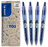Pilot – Lote de 4 bolígrafos B2P Gel 0.7 – Bolígrafo roller tinta de gel – Retractable – Fabricado a partir de plástico reciclado – Begreen – Azul – Punta mediana