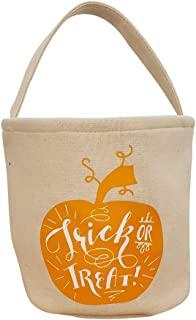 The Coral Palms® Light-Up Monogrammable Halloween Pumpkin Jack-O-Lantern Trick or Treat Bucket Tote