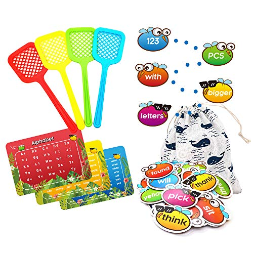 Sight Word Game Incentive Spot and Swat Splat 220 Dolch Plus Alphabet for Kindergarten Preschool with Word Charts & Storage Bag(131 Pcs)