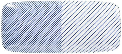 白山陶器長焼皿青重ね縞(約)25×11cmKASANEJIMA波佐見焼日本製